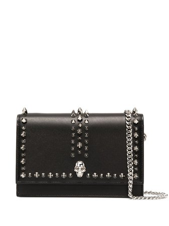 Shop Alexander McQueen spiked skull shoulder bag with Express Delivery - FARFETCH