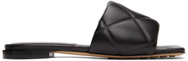 Black Intrecciato Lido Flat Sandals