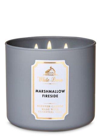 Marshmallow Fireside 3-Wick Candle - White Barn   Bath & Body Works