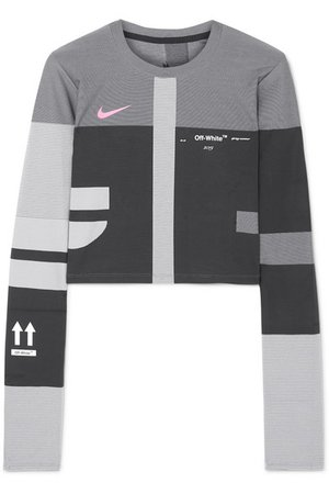 Nike | + Off-White cropped paneled printed Dri-Fit top | NET-A-PORTER.COM