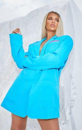 Bright Blue Extreme Oversized Blazer | PrettyLittleThing