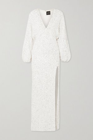 White Camille sequined chiffon maxi dress | RETROFÊTE | NET-A-PORTER