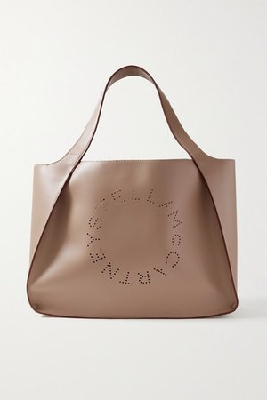 Perforated Faux Leather Tote - Taupe