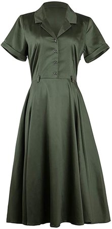 Women's 1950s Vintage Dress Cape Collar Formal Work Vintage Swing Dresses with Pockets at Amazon Women's Clothing store