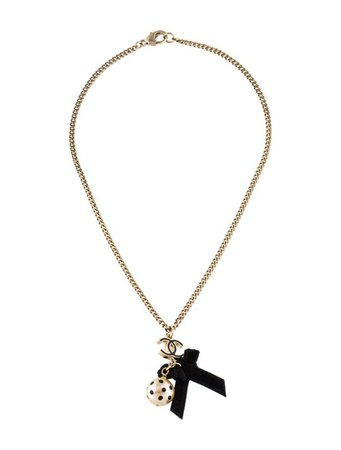 Chanel CC Faux Pearl & Velvet Bow Pendant Necklace - Necklaces - CHA291931 | The RealReal