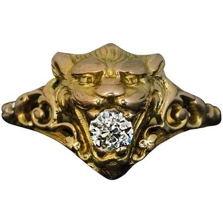 Belle Époque Antique Diamond Gold Lion Ring For Sale at 1stdibs