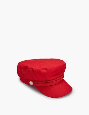 Stradivarius Red Nautical Cap In Red