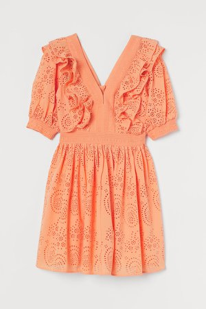Eyelet Embroidered Dress - Orange