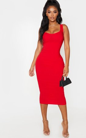Shape Red Cup Detail Strappy Midi Dress - New In | PrettyLittleThing