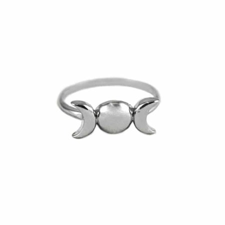 Triple Moon Goddess Sterling Silver Ring hellaholics