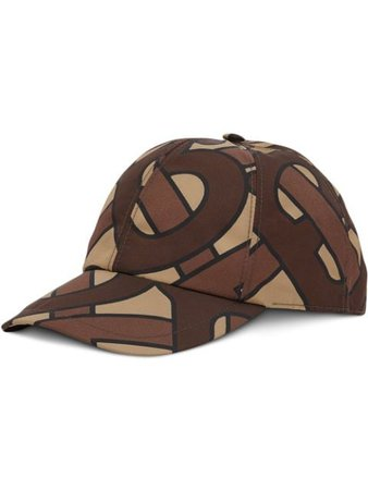 Brown Burberry monogram print baseball cap - Farfetch
