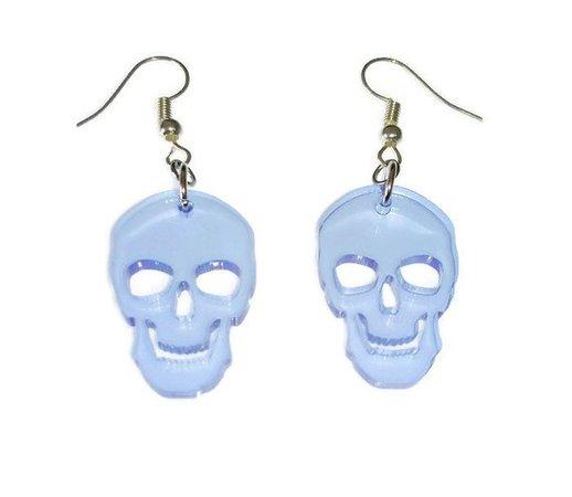 Neon Blue Skull Earrings Little Laser Cut Acrylic Dangle | Etsy