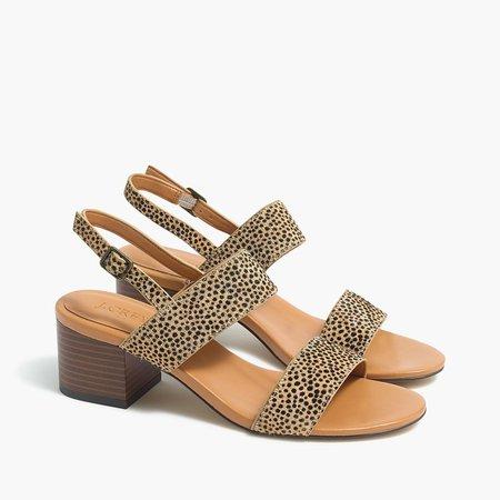 Calf hair low block-heel sandals