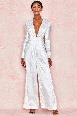 Clothing : Jumpsuits : 'Rene' White Satin Draped Jumpsuit