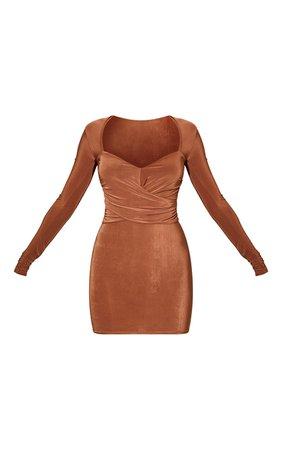Chocolate Long Sleeve Draped Bodice Bodycon Dress   PrettyLittleThing USA