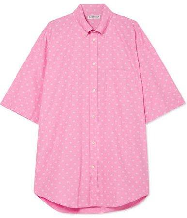 Oversized Printed Cotton-poplin Shirt - Baby pink