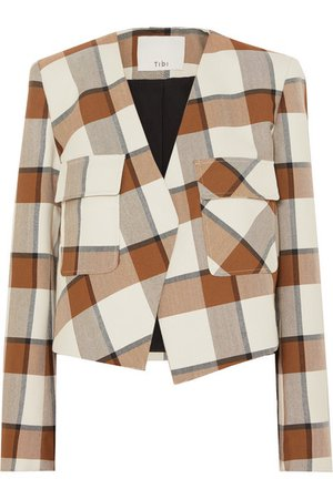 Tibi | Dylan cropped plaid woven jacket | NET-A-PORTER.COM