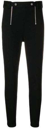 stretch zipper trim slim trousers