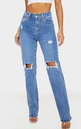 Mid Wash High Rise Distressed Straight Leg Jeans   PrettyLittleThing USA