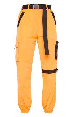 Neon Orange Shell Pocket Joggers | Trousers | PrettyLittleThing