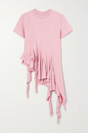 Asymmetric Ruffled Cotton-jersey T-shirt - Pink