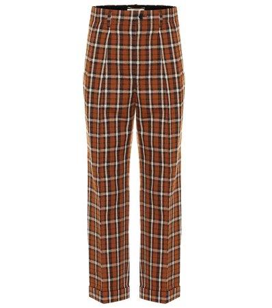 Saint Laurent - Checked virgin wool straight pants | Mytheresa