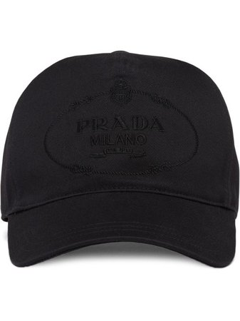 Shop black Prada embroidered logo baseball cap with Express Delivery - Farfetch