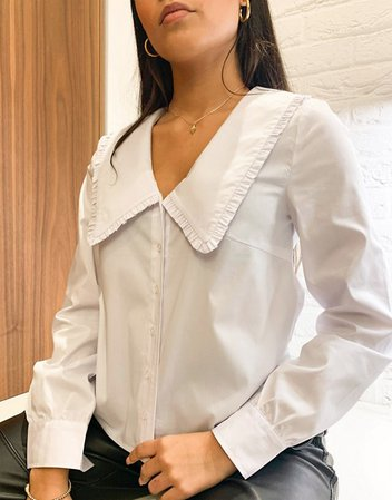 Vila Petite long sleeved blouse with collar detail in white | ASOS
