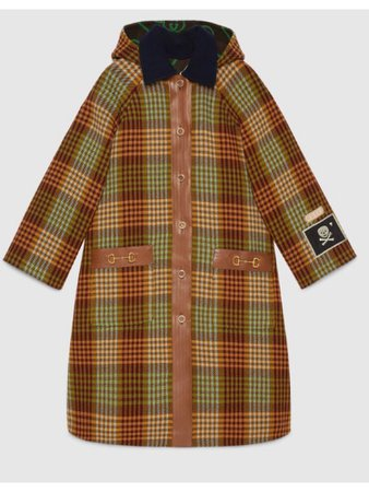 GUCCI check wool coat with horsebit