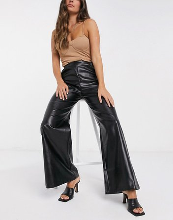 NaaNaa faux leather flared trousers in black | ASOS