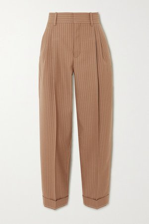 Pinstriped Wool Tapered Pants - Brown