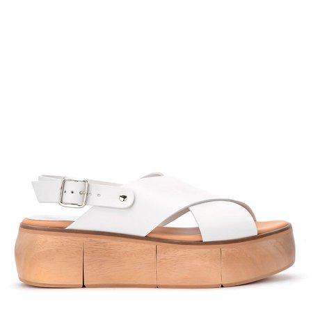 Paloma Barceló Isamu White Leather Wedge Sandal