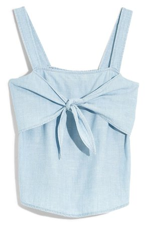 Madewell Tie Front Chambray Camisole blue
