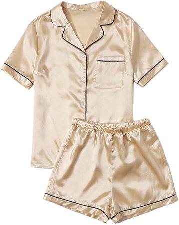 SweatyRocks Women's Short Sleeve Sleepwear Button Down Satin 2 Piece Pajama Set at Amazon Women's Clothing store