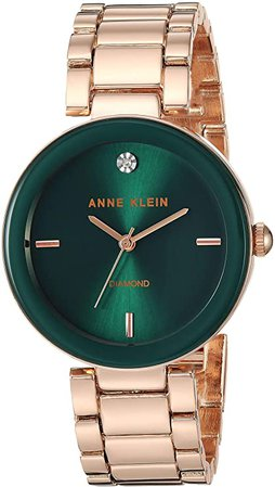 Anne Klein Women's AK/1362GNRG Quartz Metal and Alloy Rose Gold-Toned Dress Watch