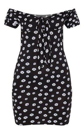 Black Ditsy Floral Tie Bust Bardot Bodycon Dress   PrettyLittleThing USA