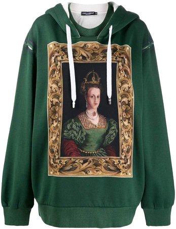 oversized queen-print hoodie