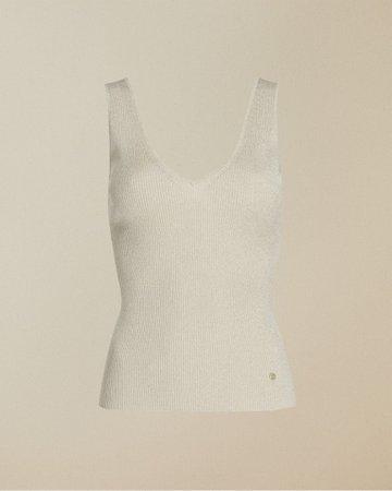 Skinny ribbed V neck top - Natural | Cami Tops | Ted Baker