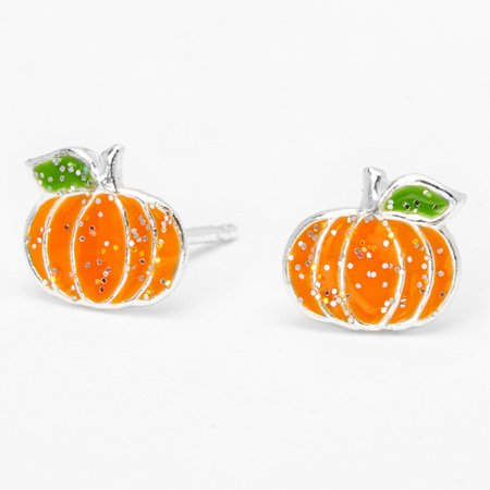 Sterling Silver Pumpkin Stud Earrings - Orange | Claire's US