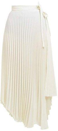 Stephanie Pleated Wrap Skirt - Womens - Ivory