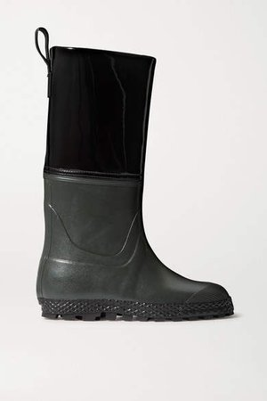 Gardener Rubber And Patent-leather Rain Boots - Black