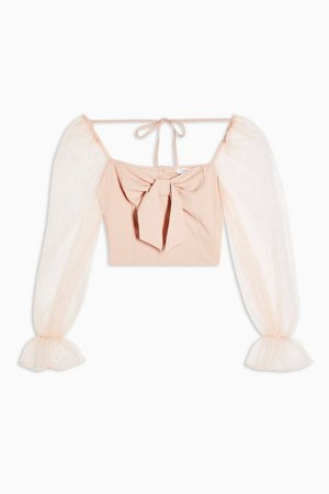 Nude Sheer Organza Long Sleeve Blouse cropped top| Topshop