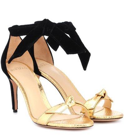 Clarita snakeskin and velvet sandals