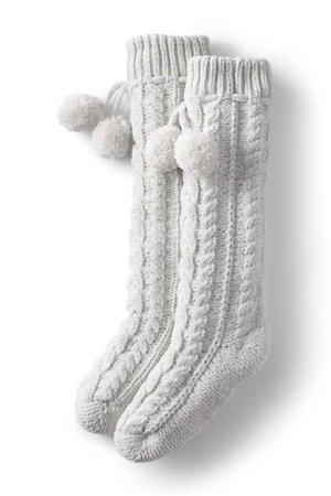 Women's Chenille Cable Knit House Slipper Socks   Lands' End