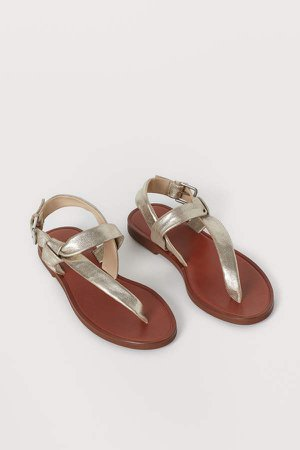 Leather Sandals - Gold