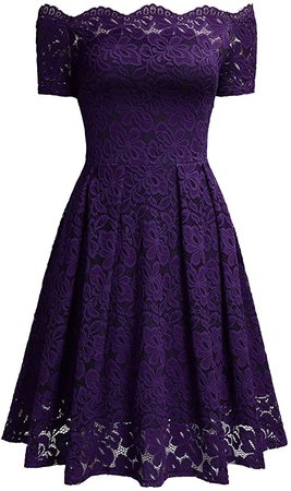 Amazon.com: MISSMAY Women's Vintage Floral Lace Short Sleeve Boat Neck Cocktail Party Swing Dress: Clothing