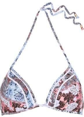 Poetic Crochet-trimmed Printed Triangle Bikini Top
