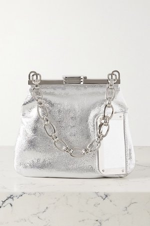 5am Metallic Textured-leather Tote - Silver