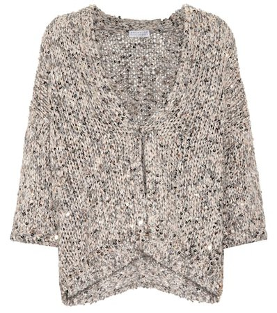 Sequined cotton-blend cardigan