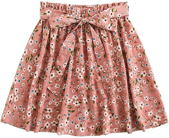 SheIn Women's Summer Floral Print Self Belted A Line Flared Skater Short Skirt at Amazon Women's Clothing store